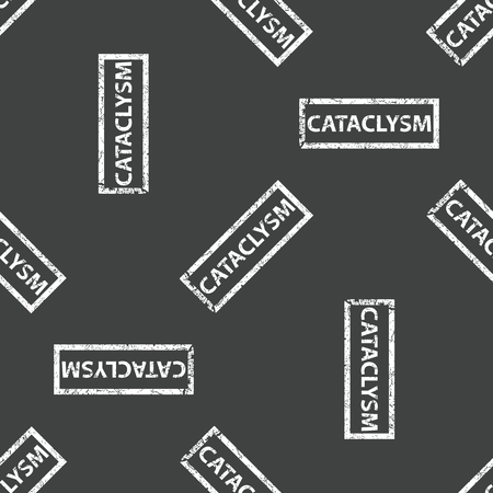 cataclysm: Stamp with text CATACLYSM repeated on grey background