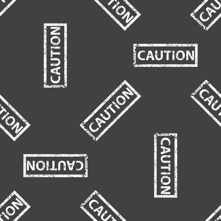 carefulness: Stamp with text CAUTION repeated on grey background Illustration