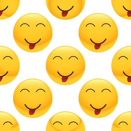 teasing: Vector teasing emoticon repeated on white background