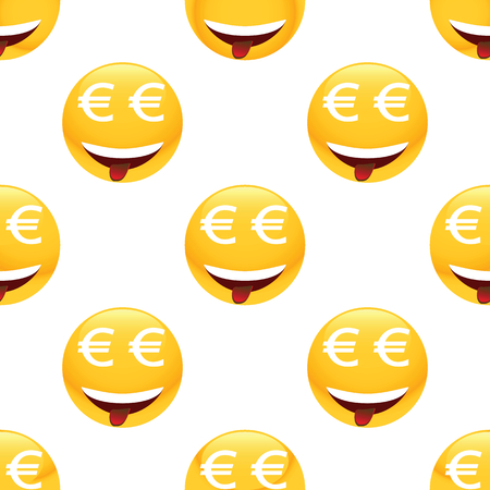 obsessed: Vector obsessed by money emoticon repeated on white background