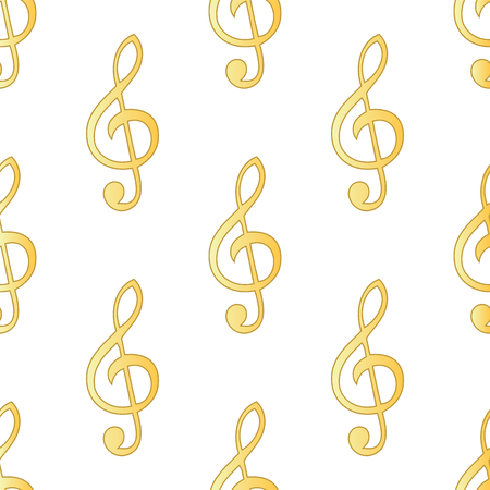 sol: Gold treble clef repeated on white background Illustration