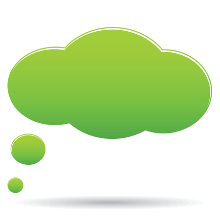 thought cloud: Vector green thought cloud bubble isolated on white