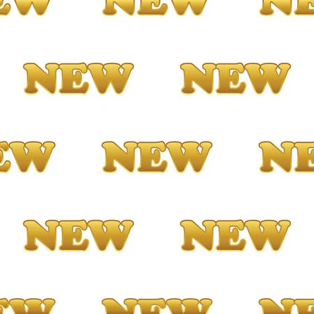 newness: Vector golden word NEW repeated on white background Illustration