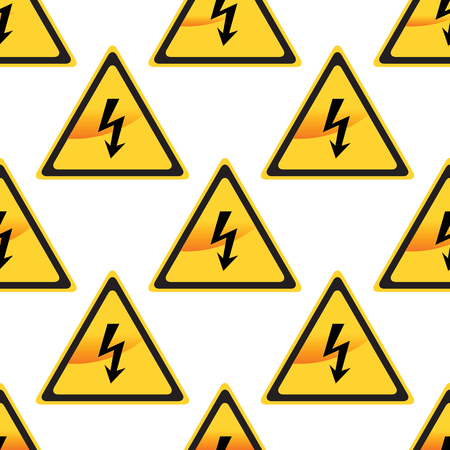voltage sign: Image of high voltage sign repeated on white background