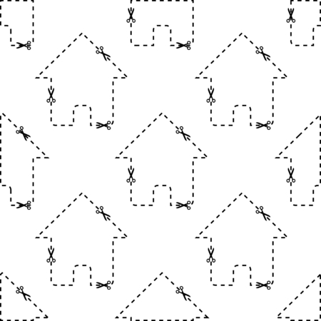 dashed: Dashed contour of house repeated on white background