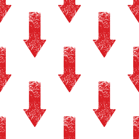 Vector red down arrow repeated on white background Vector