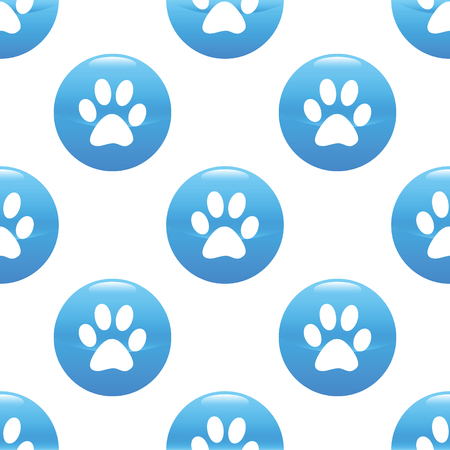 track pad: Round sign with paw silhouette repeated on white background Illustration