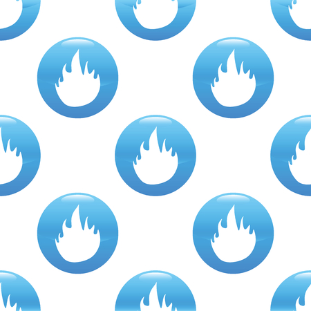 conflagration: Round sign with fire silhouette repeated on white background Illustration