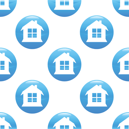 housetop: Round sign with image of house repeated on white background