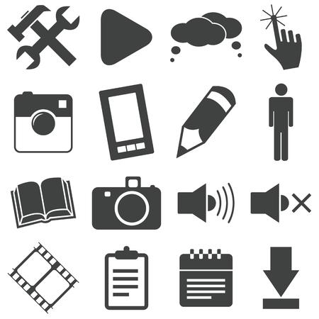 Simple black icon set 3 Vector