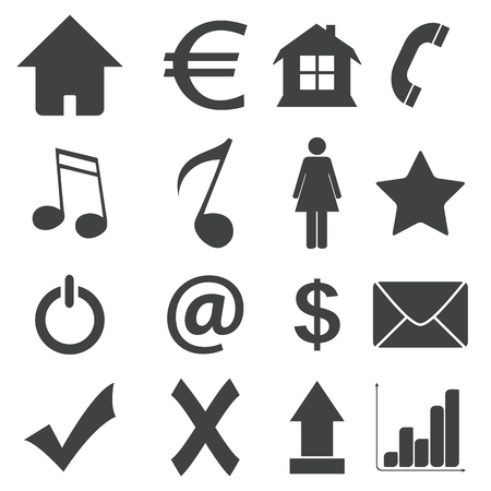 Simple black icon set 4 Vector
