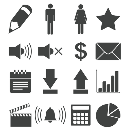 Simple black icon set 7 Vector