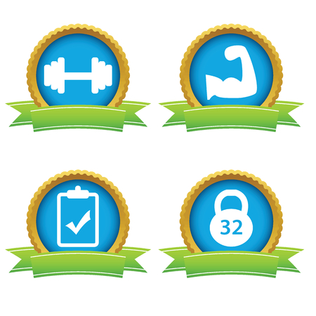 Weightlifting icons set Vector
