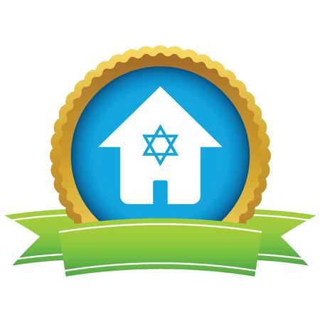 david star: House with David star icon Illustration