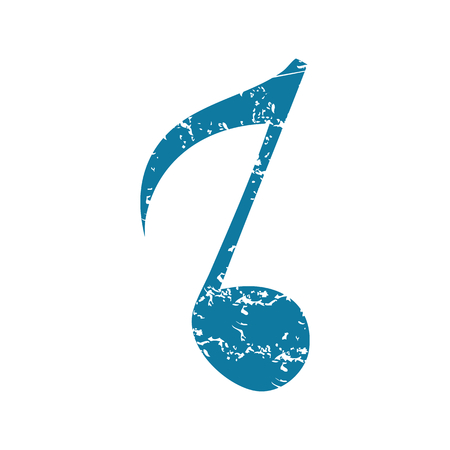 eighth note: Eighth note grunge icon Illustration