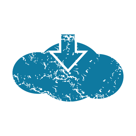 tearing down: Grunge cloud download icon