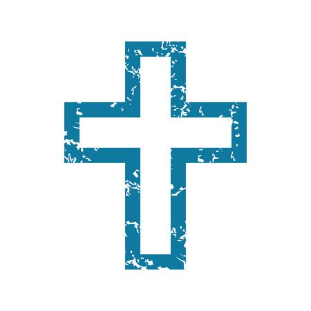 Grunge christian cross icon Illustration