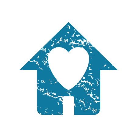 torn heart: Grunge beloved house icon Illustration