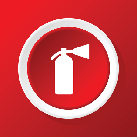burn out: Fire extinguisher icon on red