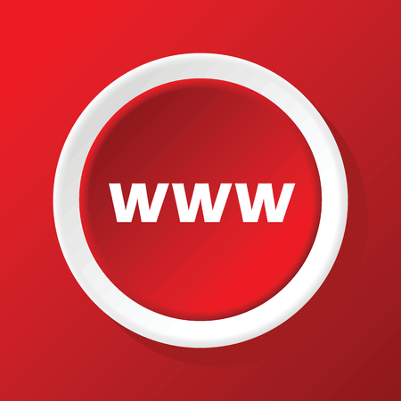 www icon: WWW icon on red