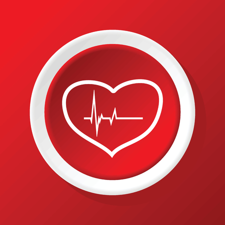 beating: Beating heart icon on red Illustration