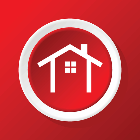housetop: House contour icon on red