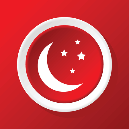 noche y luna: Icono de luna creciente en rojo Vectores