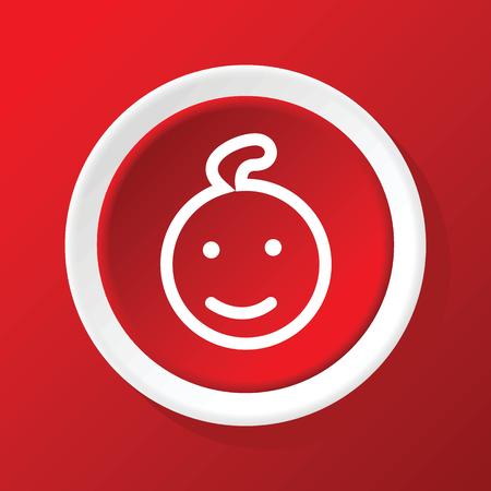 enfant qui sourit: Sourire ic�ne de l'enfant sur le rouge