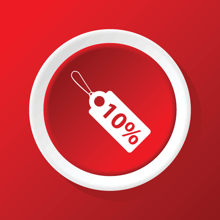 cost reduction: Discount icon on red Illustration