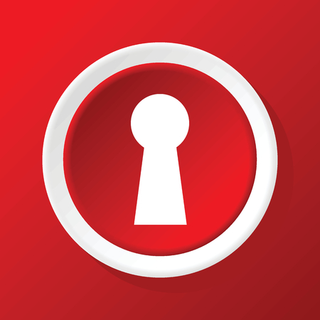 lock and key: Keyhole icon on red