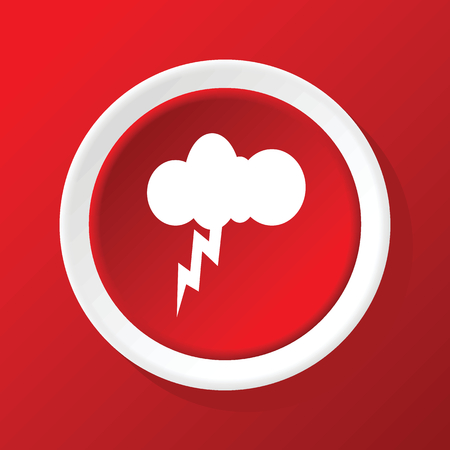 thunderbolt: Thunderbolt icon on red Illustration
