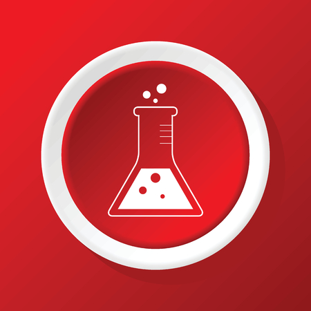 reagents: Conical flask icon on red Illustration