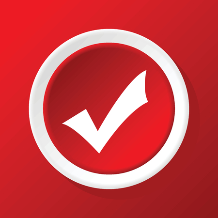 affirmative: Tick mark icon on red