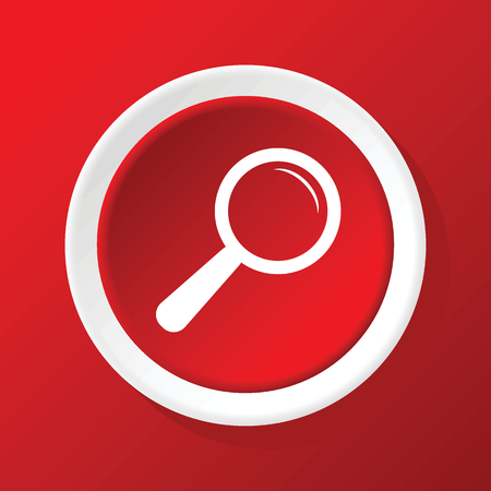 a round of inspection: Search icon on red Illustration