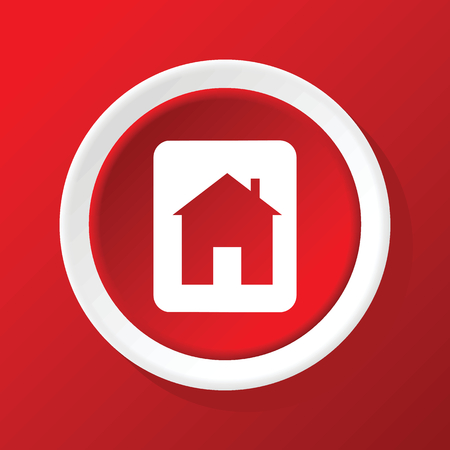 housetop: House sign icon on red