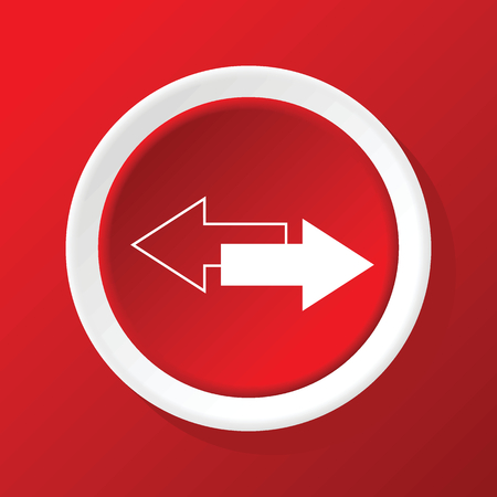 and opposite: Opposite arrows icon on red Illustration