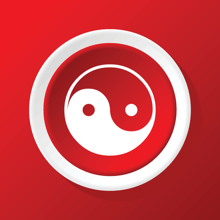 ying: Ying yang icon on red