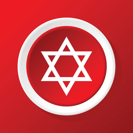 jewish star: David star icon on red