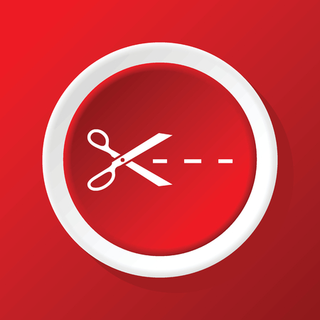 cutting scissors: Cutting scissors icon on red