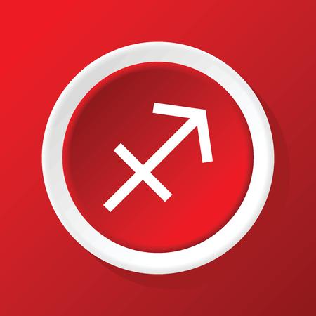 sagitario: Sagitario icono en rojo Vectores