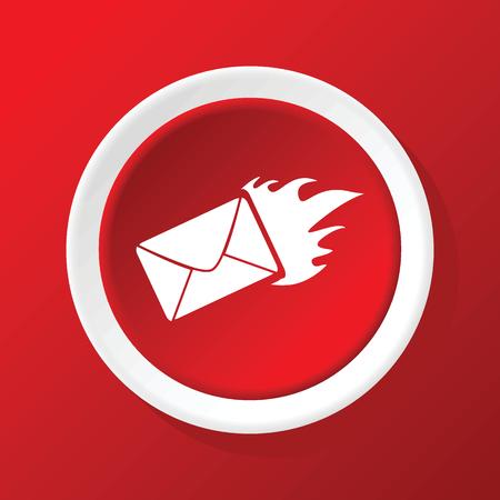 meaningful: Burning envelope icon on red Illustration