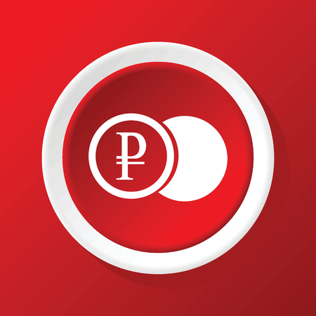 coin icon: Ruble coin icon on red