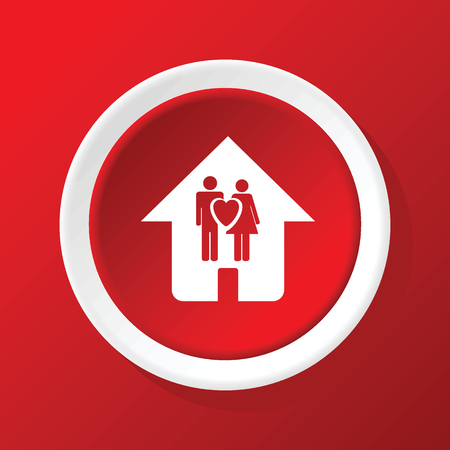 family house: Family house icon on red