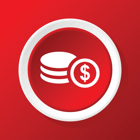 rouleau: Dollar rouleau icon on red