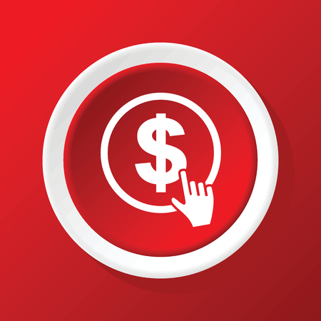 click the icon: Dollar click icon on red Illustration