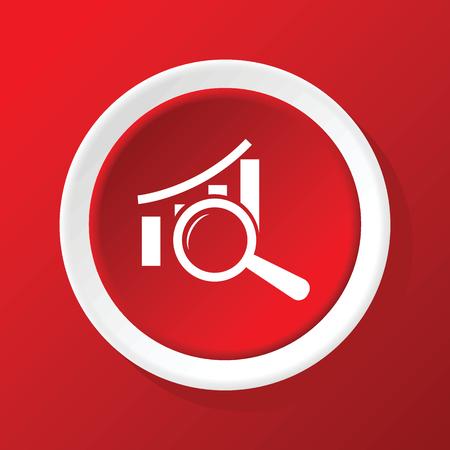 to examine: Examine graphic icon on red