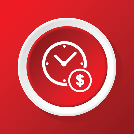 time is money: Time money icon on red