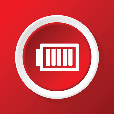 charged: Charged battery icon on red