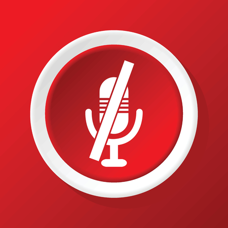 muted: Muted microphone icon on red Illustration