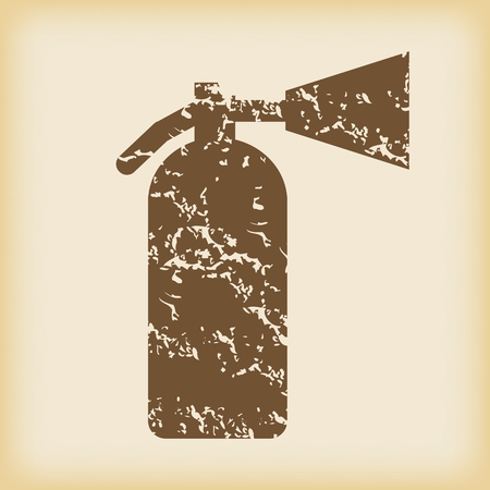 conflagration: Grungy fire extinguisher icon Illustration